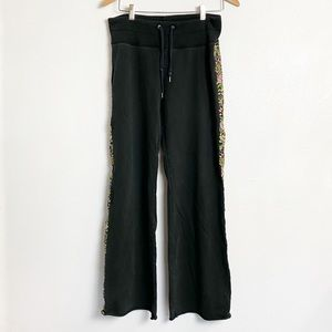 Lucky brand knit wear black embroidered pants